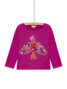 T-shirt manches longues violine à motif perroquet enfant fille MAPATI1 / 21W901H3TML712