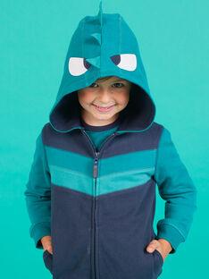 Gilet zippé bleu nuit à capuche animation fantaisie enfant garçon MOTUGIL2 / 21W902K2GIL705