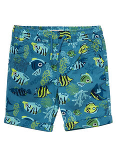 Bermuda imprimé poisson garçon bleu JOBOBER2 / 20S902H2BER215