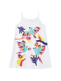 Chemise de nuit fines bretelles enfant fille blanche JEFACHU1 / 20SH11U2CHN000
