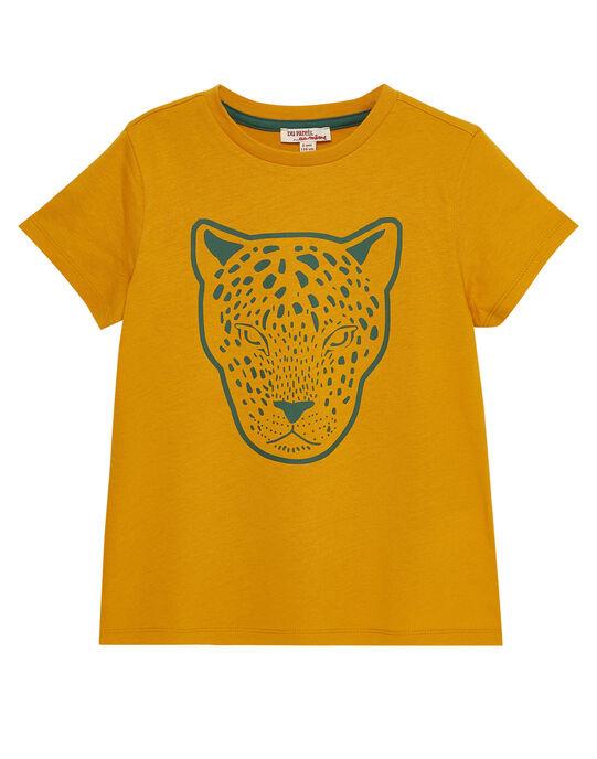 Tee shirt garçon manches courtes jaune panthère JODUTI3 / 20S902O4TMC109