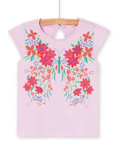 T-shirt manches courtes, fleurs imprimé, brodées et perlées LAVITI1 / 21S901U2TMCH700