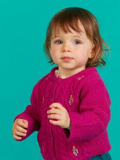 Cardigan en maille rose foncé brodé bébé fille MITUCAR1 / 21WG09K1CARD312