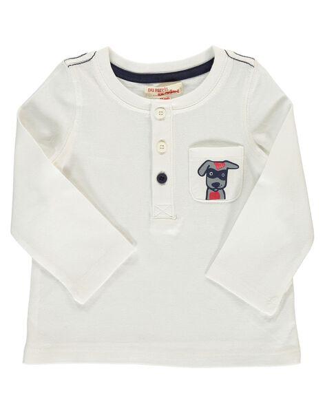 Tee-shirt manches longues écru bébé garçon DUJOTUN4 / 18WG1037TML001