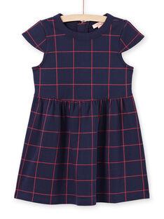 Robe manches courtes bleu nuit à carreaux rouges enfant fille MAJOROB4 / 21W90124ROBC205