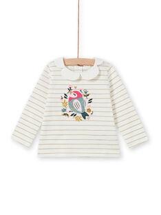 T-shirt rayé à motif oiseau et fleurs bébé fille MIKABRA / 21WG09I1BRA001