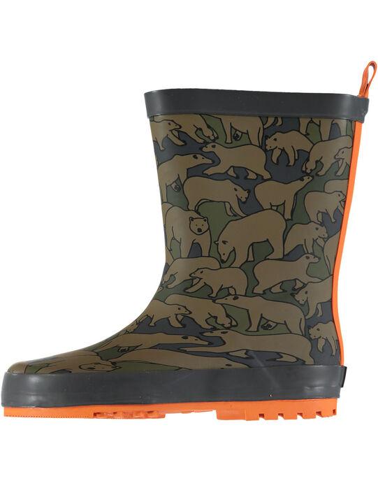 """Botte de pluie en caoutchouc kaki avec un imprimé """"camouflage"""" ours. Tire-botte à l'arrière pour faciliter l'enfilage. Semelle extérieure en caoutchouc exclusif DP…am au dessin ludique. GGBPOURS / 19WK36G3D0C604"""