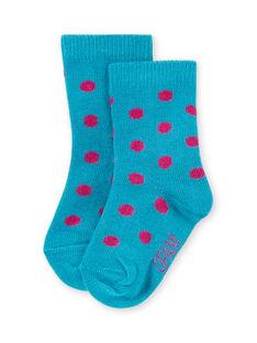 Chaussettes turquoise à pois roses bébé fille MYIJOSOQ4 / 21WI091ASOQ209