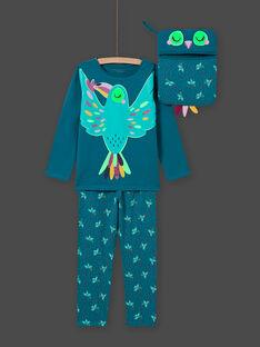 Ensemble pyjama phosphorescent turquoise oiseau enfant fille MEFAPYJTOU / 21WH1172PYGC217