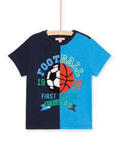 T-shirt bicolore bleu motif ballon enfant garçon LOHATI1 / 21S902X2TMC705