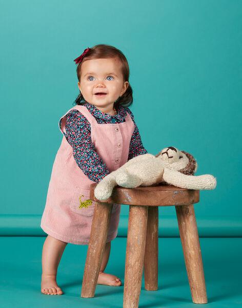 Robe salopette rose en velours bébé fille KIBRIROB2 / 20WG09F1ROB303