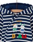 Combinaison bleu nuit à rayures motif animaux bébé garçon MUMIXCOM / 21WG10J1CBL713