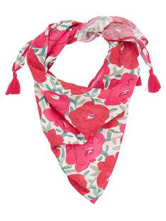 Foulard triangulaire enfant fille avec motif grosses fleurs + pompoms sur les extrémités  JYAWEFOUL / 20SI0191FOU001