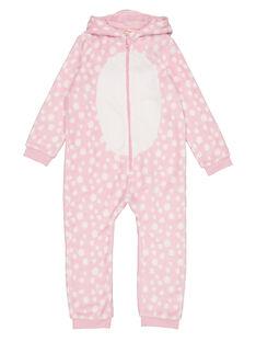 Surpyjama biche rose à capuche en soft boa enfant fille GEFASURBI / 19WH11N2D4FD301