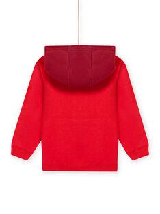 Sweat-shirt à capuche rouge motif dinosaure enfant garçon MOFUNSWE / 21W902M1SWEF505