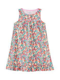 Chemsie de nuit larges bretelles enfant fille imprimé multicolore JEFACHU2 / 20SH11U1CHN000