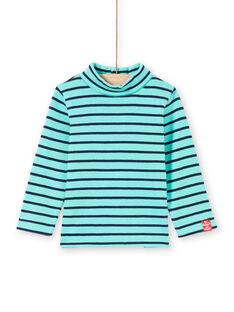 Sous-pull turquoise et bleu marine à rayures bébé garçon MUJOSOUP1 / 21WG10N2SPL209