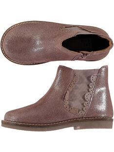 Chelsea boots coûte de cuir rose à paillettes enfant fille GFBOOTPINK / 19WK35I5D0D030