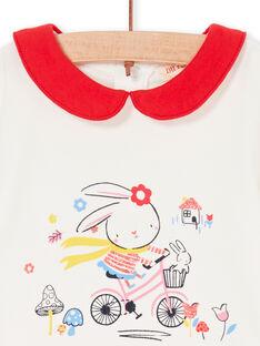 Body écru à col Claudine et motif lapin fantaisie bébé fille LIHABOD1 / 21SG09X2BOD001