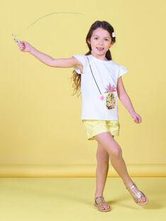 T-shirt blanc à manches courtes ananas enfant fille LAJAUTI3 / 21S901O3TMC000