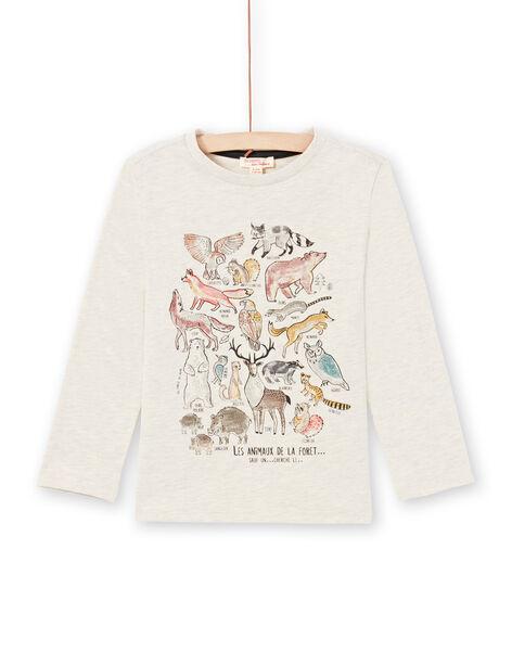 T-shirt manches longues beige chiné à motifs animaux de la forêt enfant garçon MOSAUTEE3 / 21W902P2TMLA013