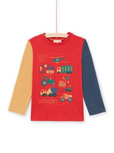 T-shirt rouge et orange enfant garçon MOCOTEE4 / 21W902L3TMLF521