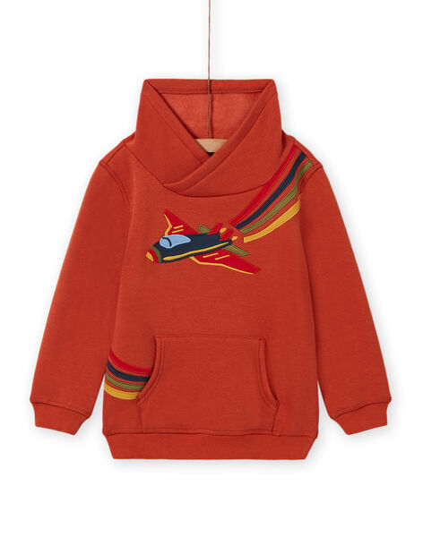 Sweat-shirt orange motif avion coloré enfant garçon MOCOSWE / 21W902L1SWE408