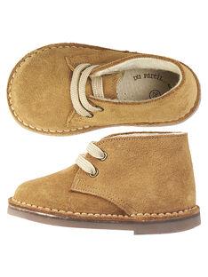 Desert boots croûte de cuir beige bébé garçon  GBGBOOTDES / 19WK38Y2D0D080