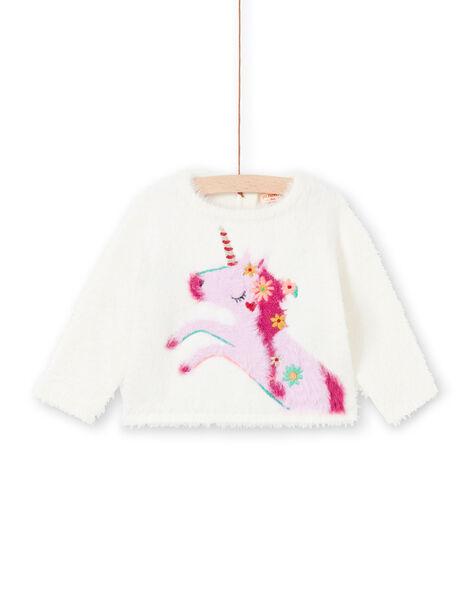 Pull écru motif licorne rose bébé fille MITUPUL / 21WG09K1PUL001