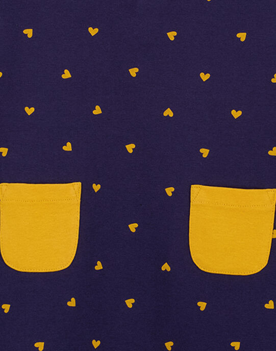 Robe manches courtes avec col claudine, imprimé à pois jaune et poches jaune sur le vas de la robe  GAJOROB2 / 19W90142D2F070