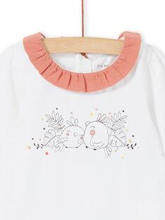 Body blanc imprimé oiseaux col rose.à volants LOU1BOD4 / 21SF03H2BOD000