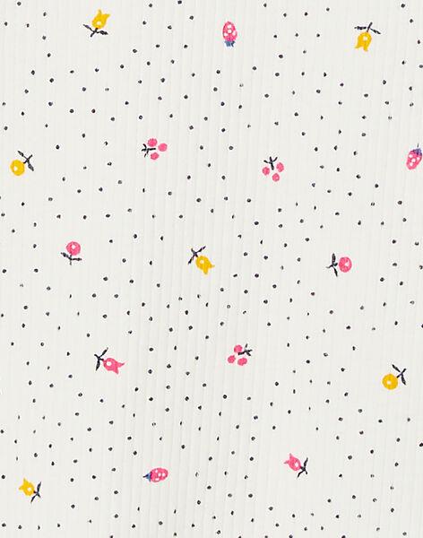 T-shirt manches longues écru imprimé floral à côte et col volanté KAJOUTEE5 / 20W9013BD32001