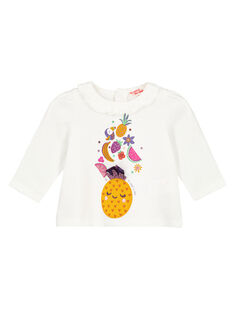 Tee shirt manches longues ecru layette fille GIVIOTEE / 19WG09R1TML001