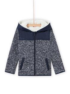 Veste zippée à capuche en matière technique bleu nuit enfant garçon MOJOTEKGIL1 / 21W902N2GIL705