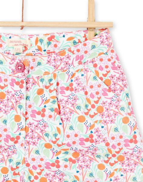 Short blanc et rose imprimé fleuri enfant fille LAVISHORT / 21S901U1SHO000