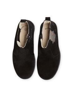Boots noires en cuir détails paillettes enfant fille MABOOTMEL / 21XK3576D0D090