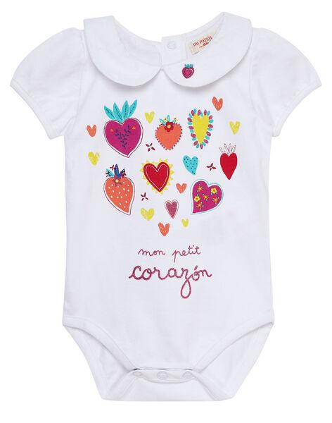 Body blanc imprimé fleurs et cœurs bébé fille JIMARBOD / 20SG09P1BOD000
