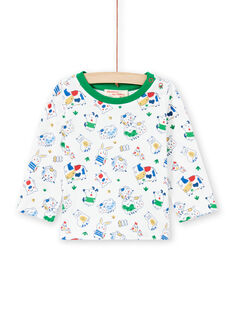 T-shirt écru imprimé animaux bébé garçon MUMIXTEE1 / 21WG10J1TML001