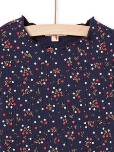 T-shirt bleu marine imprimé fleuri enfant fille MAJOUTEE6 / 21W90121TMLC205