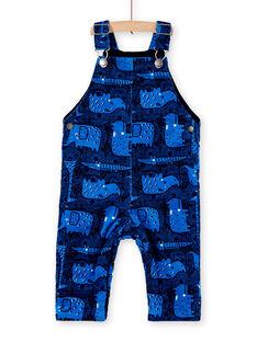 Salopette longue en velours bleu bébé garçon KUSASAL2 / 20WG10O2SALC226