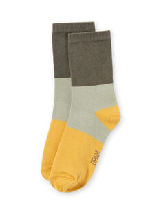 Chaussettes kaki, beiges et jaunes enfant garçon MYOJOCHOC2 / 21WI0218SOQG631