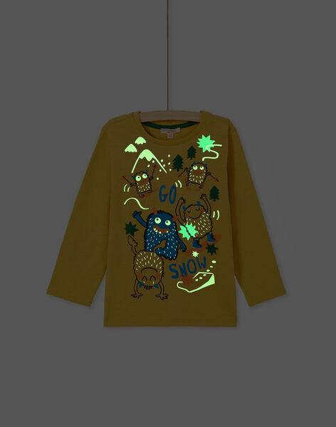Tee shirt manches longues jaune garçon KOLUTEE1 / 20W902P3TML104