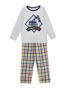 Pyjama en jersey enfant garçon et bas popeline à carreaux JEGOPYJTRA / 20SH1223PYJJ920