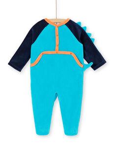 Grenouillère bleue en velours motif dinosaure LEFUGREDIN / 21SH1413GREC230
