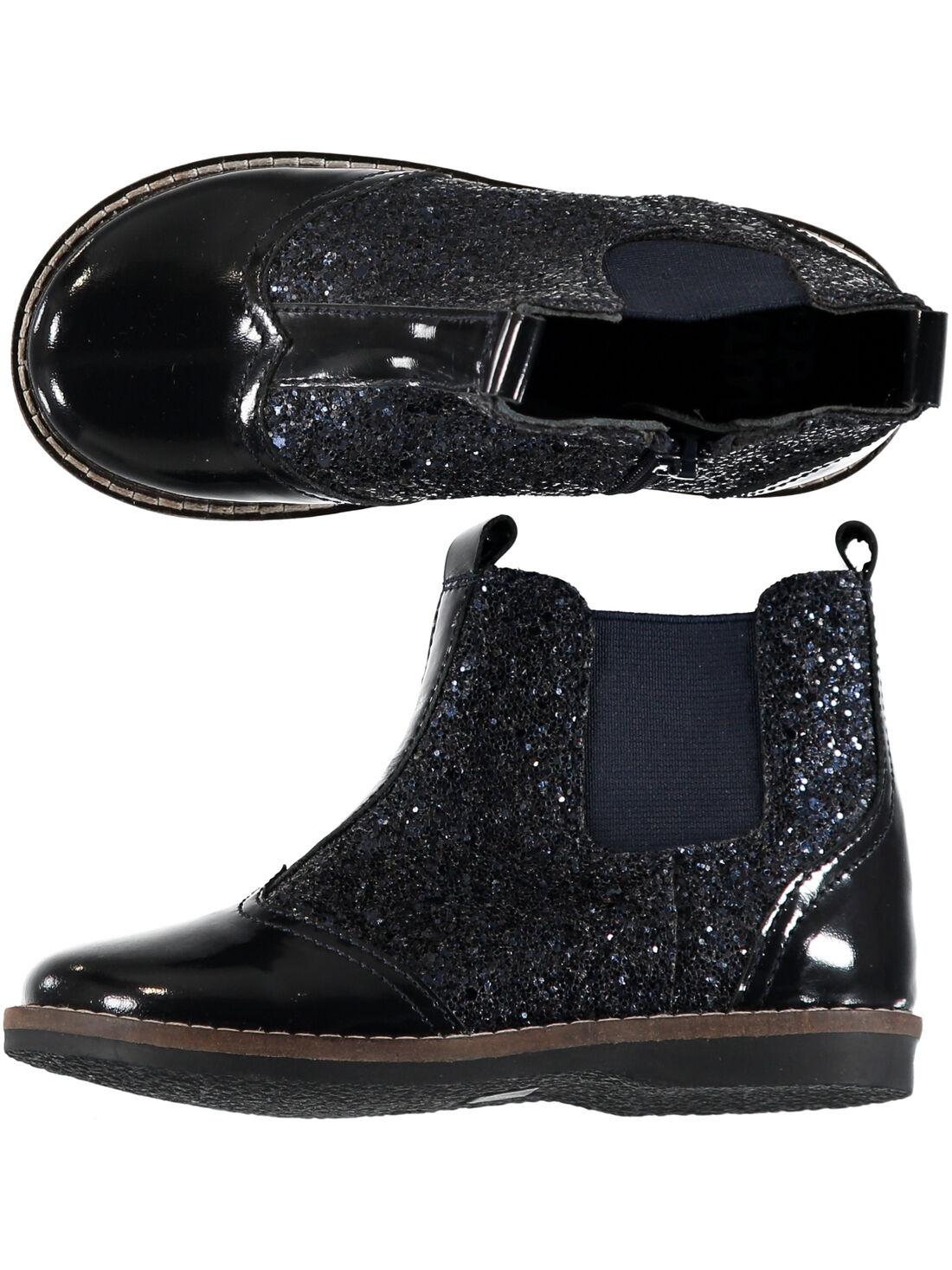 Boots bi matière cuir verni et paillettes marine enfant fille