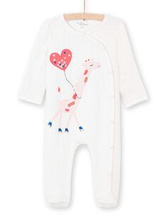 Grenouillère écrue imprimé rayures et pois bébé fille MEFIGREGIR / 21WH1332GRE001