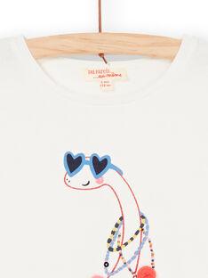 T-shirt écru motif dinosaure fantaisie enfant fille LAHATEE / 21S901X1TML001