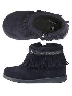 Boots croûte de cuir marine à franges bébé fille GBFBOOTINDM / 19WK37X1D0D070