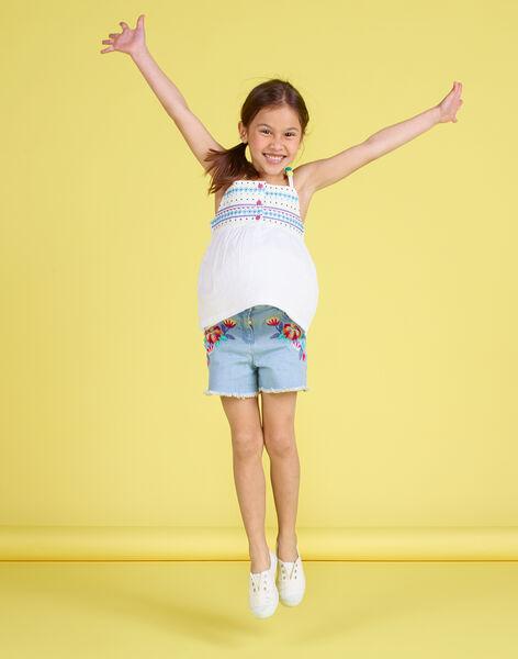 Short en jean brodé enfant fille JAMARSHORT / 20S901P1SHOP272