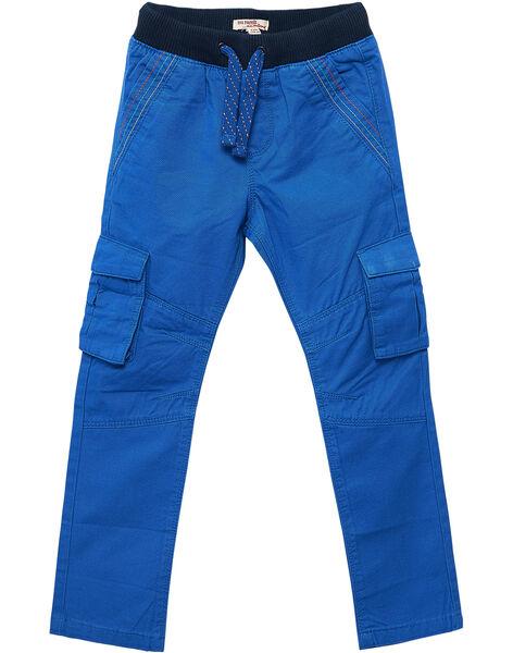 Pantalon élasqtiqué cargo garçon bleu vif.  JOVIPAN2 / 20S902D1PAN703